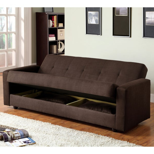 Newest Shop Furniture Of America Cozy Microfiber Futon Sofa Bed In Liberty Sectional Futon Sofas With Storage (View 8 of 20)