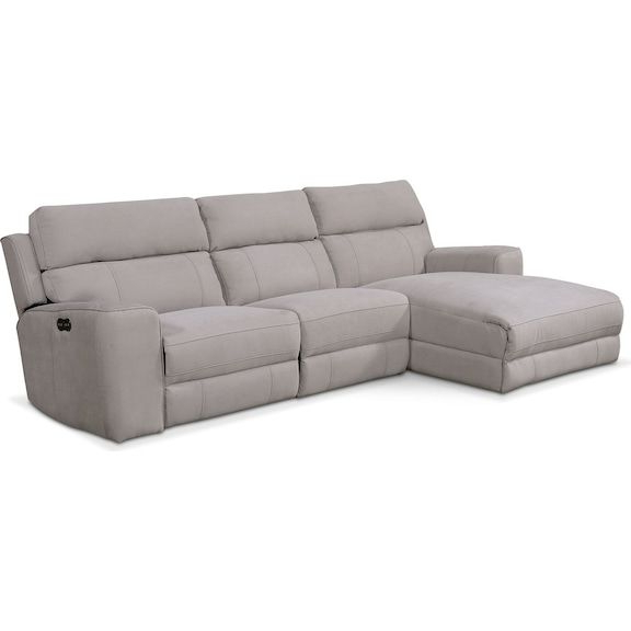 Newport 3 Piece Power Reclining Sectional With Left Facing Throughout Well Known Copenhagen Reclining Sectional Sofas With Left Storage Chaise (View 7 of 20)