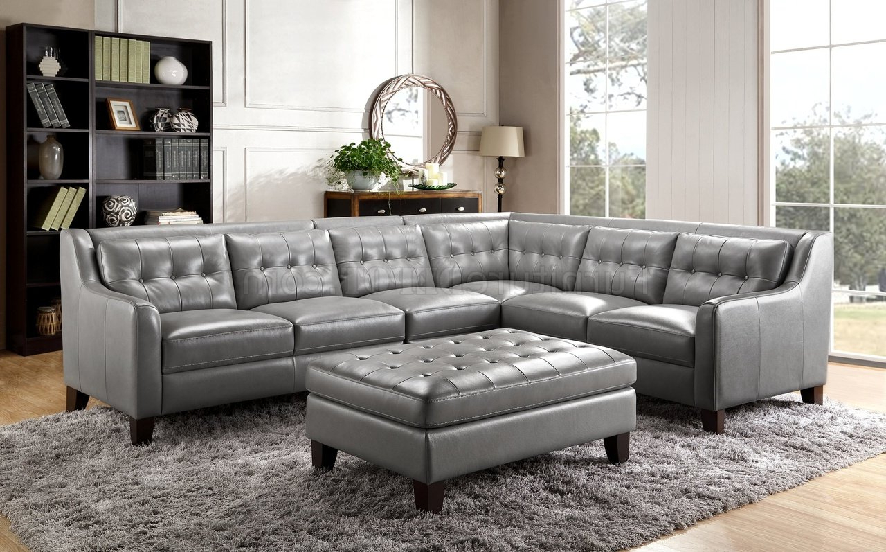 Noa Sectional Sofas With Ottoman Gray Throughout Well Known Malibu Sectional Sofa In Greyleather Italia W/options (View 1 of 20)