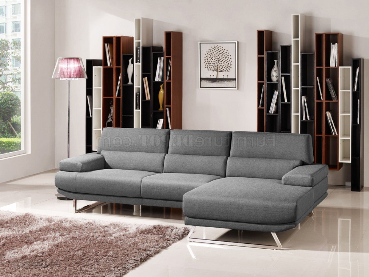Noa Sectional Sofas With Ottoman Gray With Most Recently Released Trinidad Sectional Sofa 1509b In Grey Fabricvig (View 4 of 20)