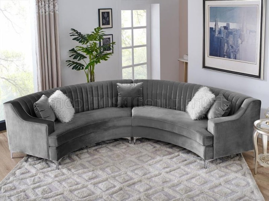 Noa Sectional Sofas With Ottoman Gray Within Well Known Ms2071 Sectional Sofa In Grey Velvetvimports (View 6 of 20)