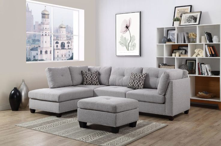 Oah D6605 3 Pc Martinique Light Gray Linen Like Fabric With Regard To Latest 2pc Polyfiber Sectional Sofas With Nailhead Trims Gray (View 11 of 20)