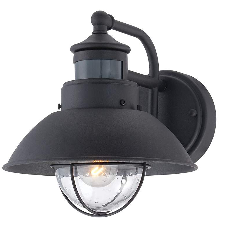 """Oberlin 9""""h Black Dusk To Dawn Motion Sensor Outdoor Light Intended For Widely Used Leslie Black Outdoor Barn Lights (View 17 of 20)"""