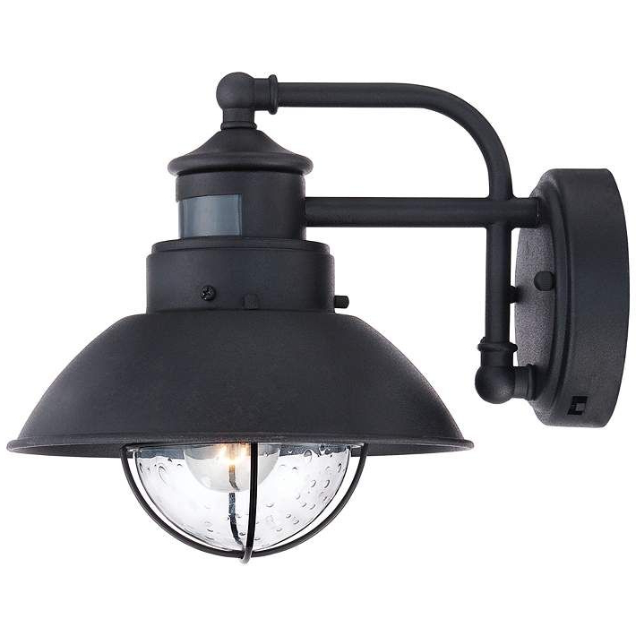 """Oberlin 9""""h Black Dusk To Dawn Motion Sensor Outdoor Light Throughout 2019 Manteno Black Outdoor Wall Lanterns With Dusk To Dawn (View 8 of 20)"""