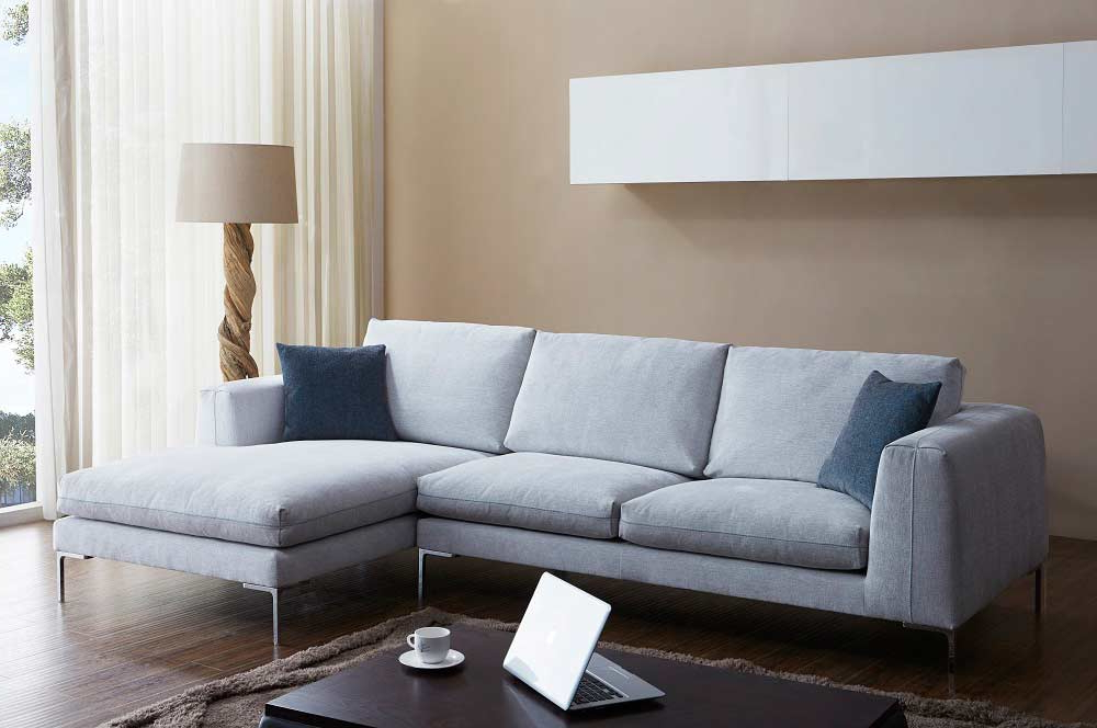 Off White Fabric Sectional Sofa Nj Blanca (View 16 of 20)