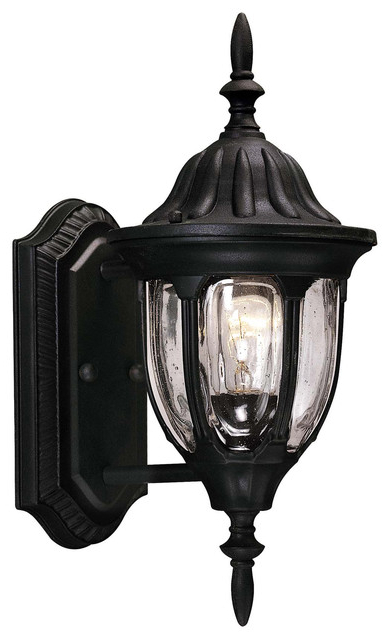 One Light Clear Seeded Glass Textured Black Wall Lantern Intended For Current Emaje Black Seeded Glass Outdoor Wall Lanterns (View 20 of 20)