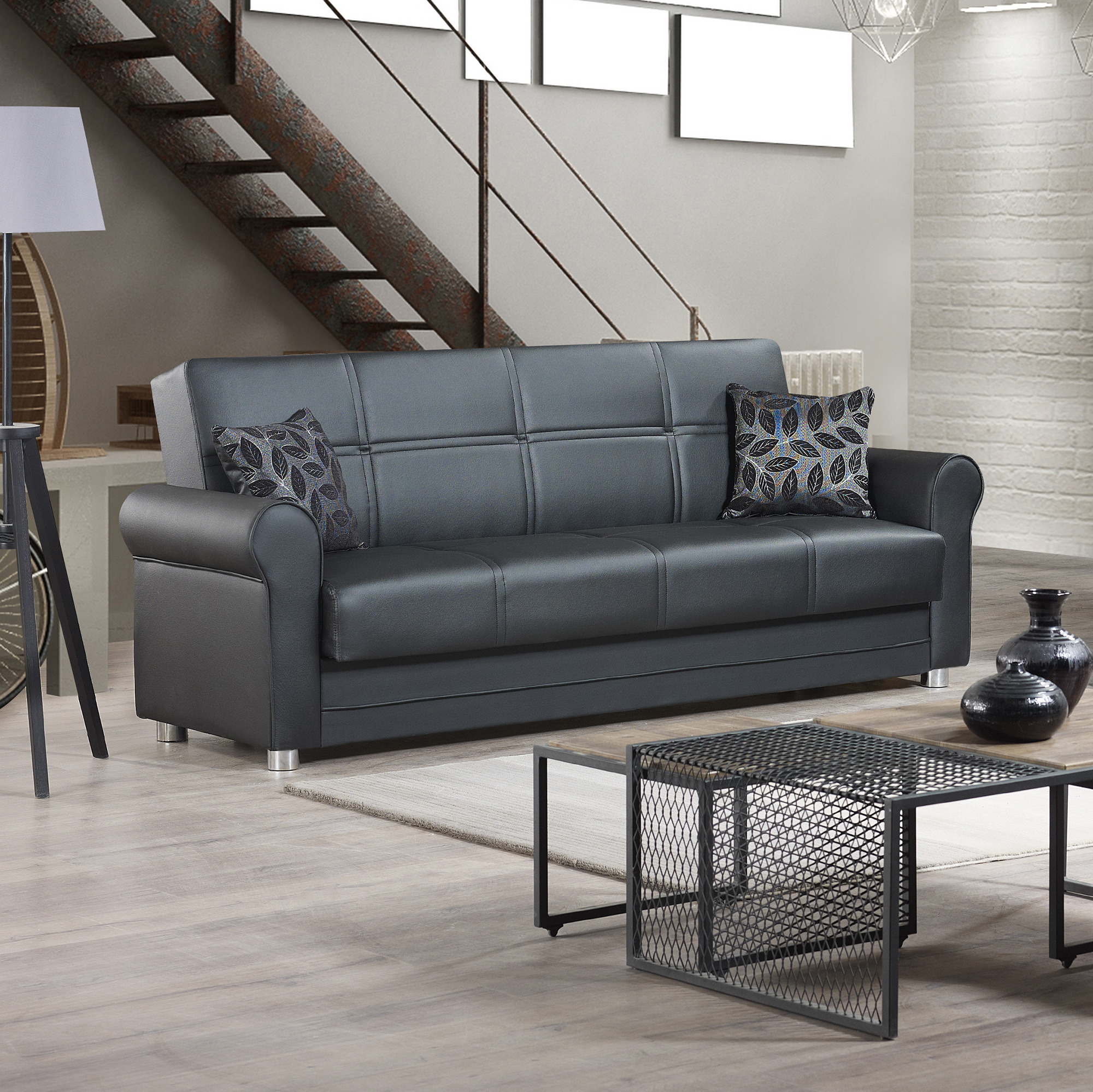 Ottomanson Avalon Sofa Bed With Storage In Leather Intended For Well Known Hartford Storage Sectional Futon Sofas (View 1 of 20)