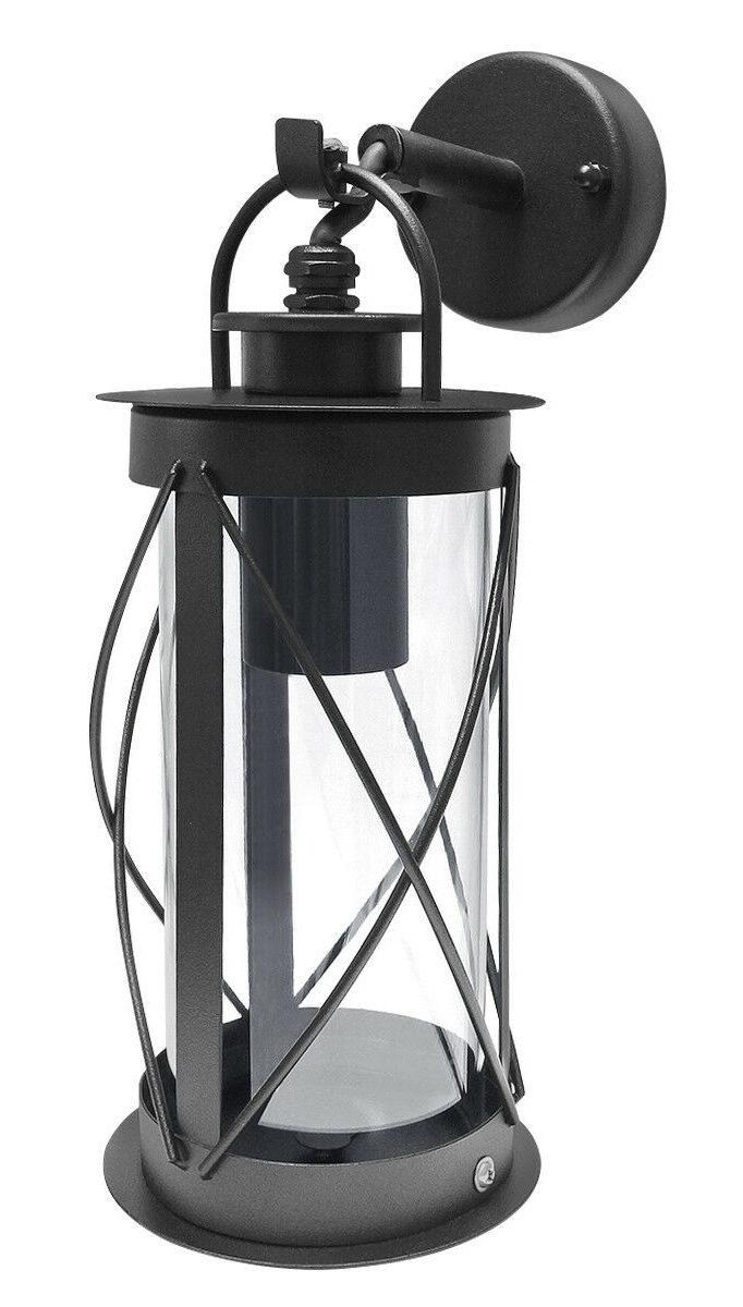 Outdoor Garden Wall Lantern Light Black Metal With Glass Within Most Popular Vendramin Black Glass Outdoor Wall Lanterns (View 14 of 20)