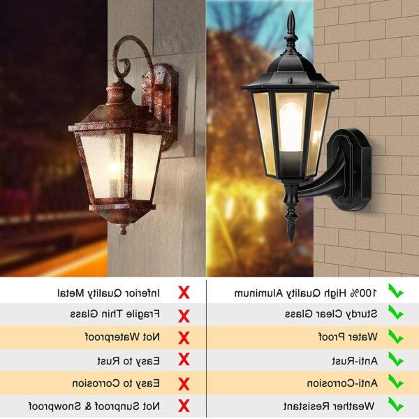 Outdoor Wall Light, Dusk To Dawn Outdoor Lighting Sensor Pertaining To Favorite Ballina Matte Black Outdoor Wall Lanterns With Dusk To Dawn (View 11 of 20)