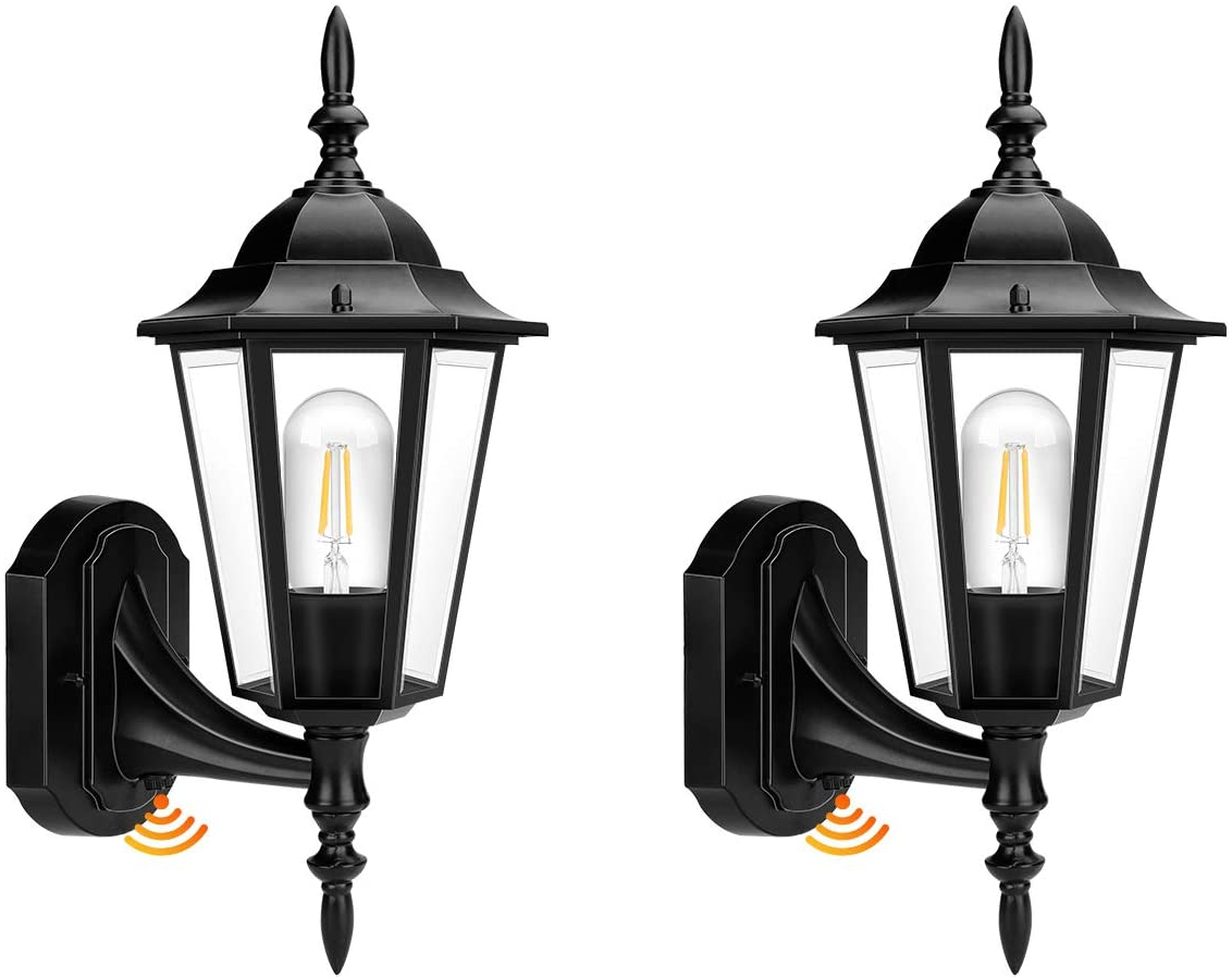 Outdoor Wall Light, Dusk To Dawn Outdoor Lighting Sensor With Regard To Most Current Chicopee 2 – Bulb Glass Outdoor Wall Lanterns (View 14 of 20)