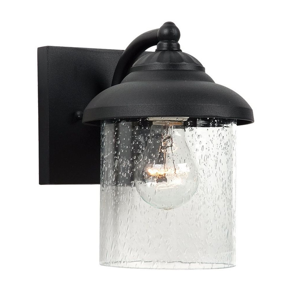 Outdoor Wall Light With Clear Glass In Black Finish At Regarding Current Edenfield Water Glass Outdoor Wall Lanterns With Dusk To Dawn (View 10 of 20)