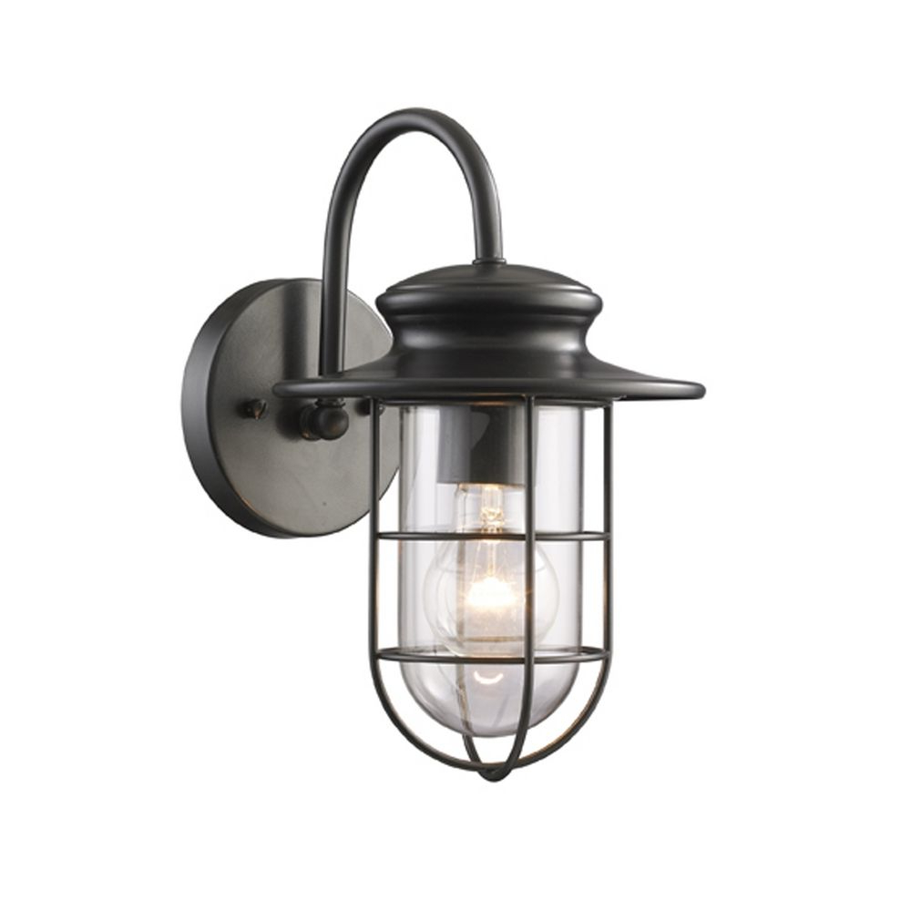 Outdoor Wall Light With Clear Glass In Matte Black Finish Inside Well Liked Armanno Matte Black Wall Lanterns (View 8 of 20)