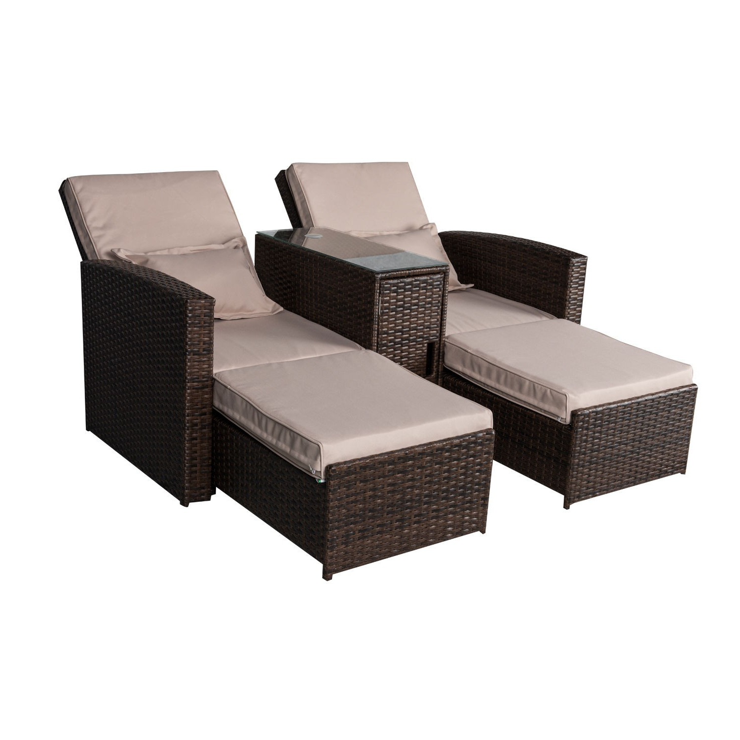Outsunny 3 Piece Outdoor Rattan Wicker Chaise Lounge Within Well Known Colby Manual Reclining Sofas (View 13 of 20)