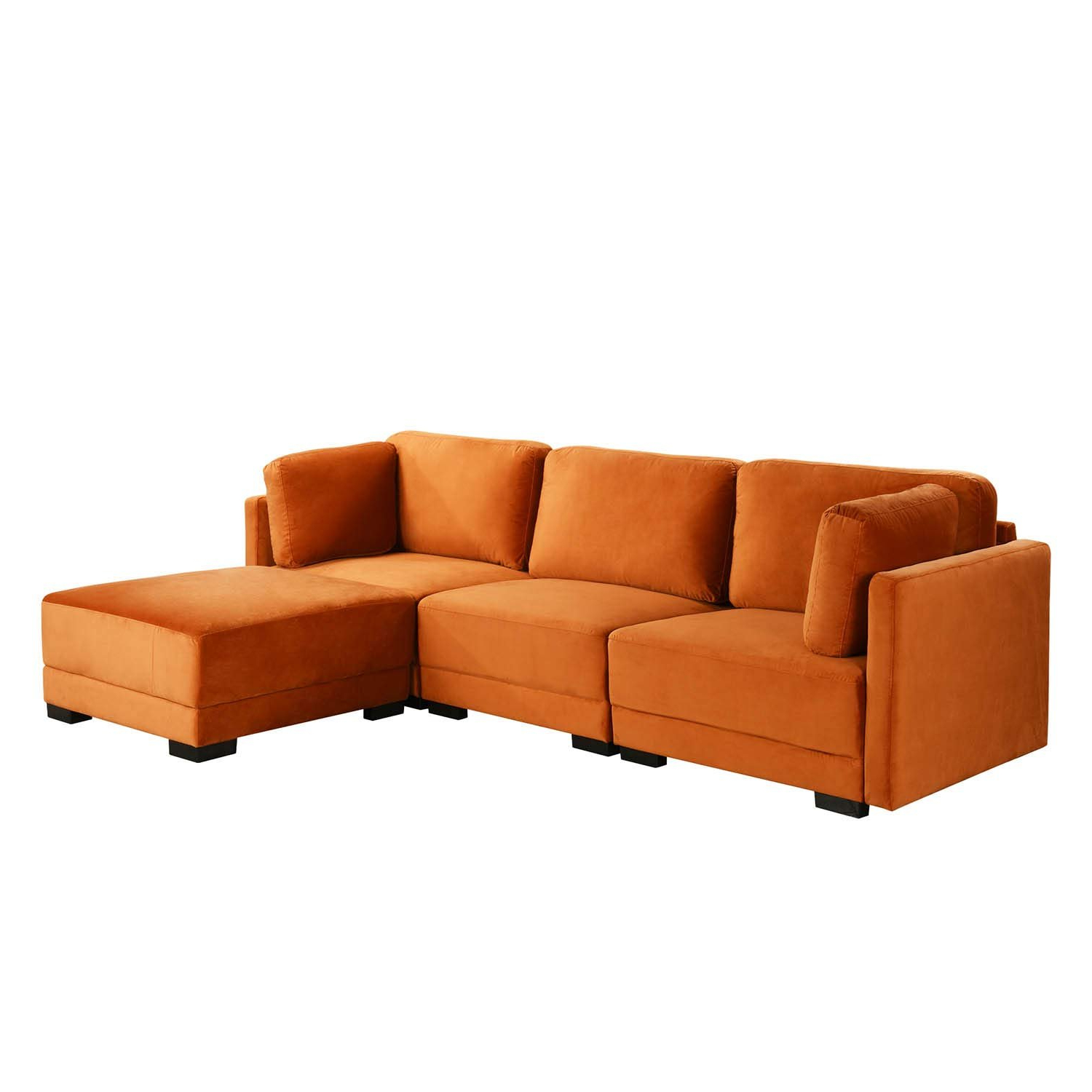 Owego L Shaped Sectional Sofas For Well Known Orange Upholstered Velvet Sectional Sofa, L Shape Modern (View 17 of 20)