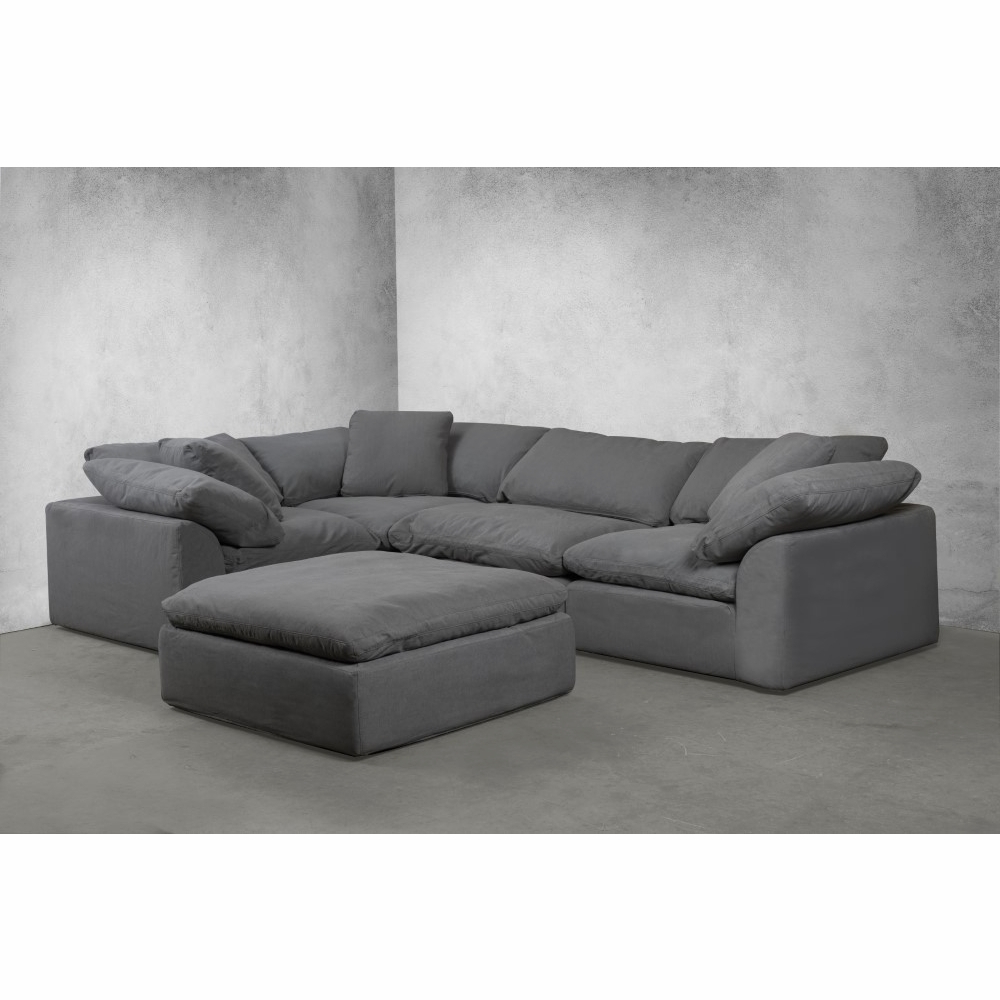 Owego L Shaped Sectional Sofas In Most Up To Date Sunset Trading – Cloud Puff 5 Piece Slipcovered Modular L (View 1 of 20)