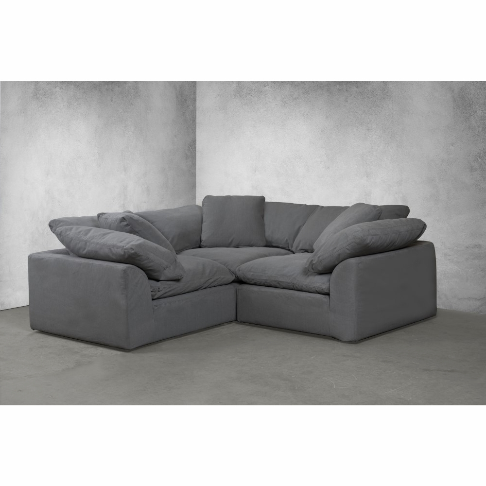 Owego L Shaped Sectional Sofas Pertaining To Famous Sunset Trading – Cloud Puff 3 Piece Slipcovered Modular (View 3 of 20)