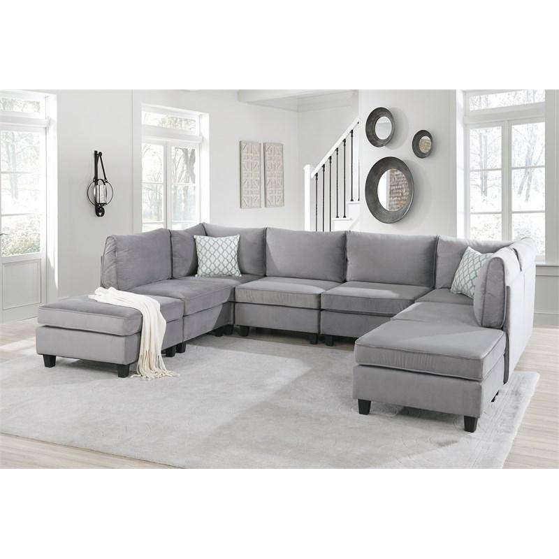 Owego L Shaped Sectional Sofas Throughout Popular Simona Gray Velvet 8pc Modular U Shape L Shape Sectional (View 5 of 20)