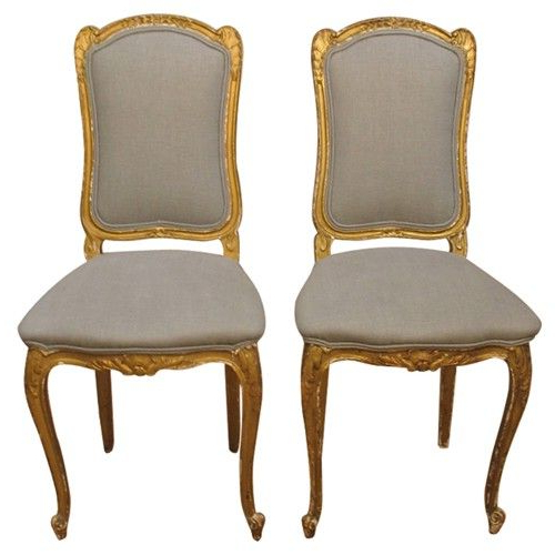 Pair Of 19th C Italian Gold Gilt Chairs With Grey Linen With Most Current 4pc French Seamed Sectional Sofas Oblong Mustard (View 15 of 20)