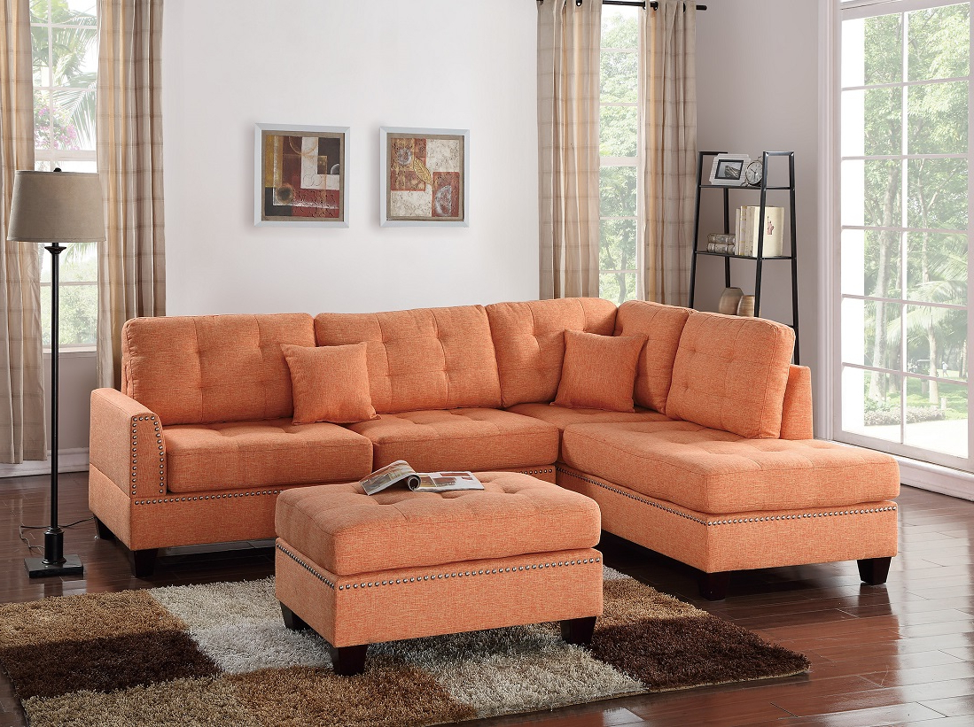Palisades Reversible Small Space Sectional Sofas With Storage Within Recent 3 Piece Sectional Sofa Reversible Chaise Ottoman Citrus (View 6 of 20)