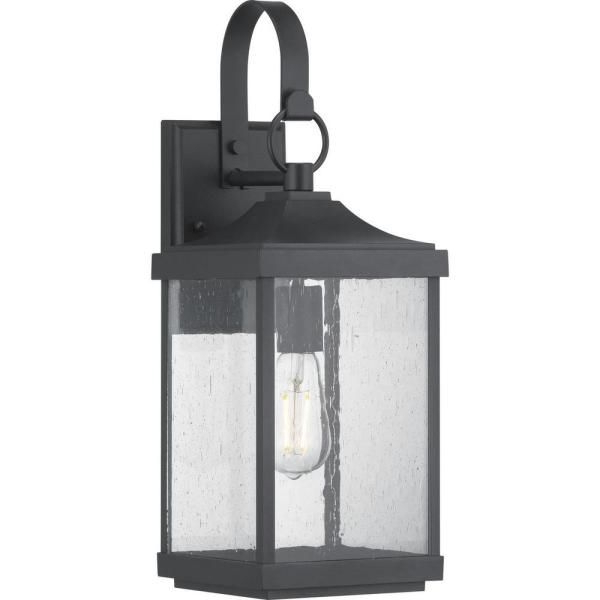 Palma Black/clear Seeded Glass Outdoor Wall Lanterns Throughout Best And Newest Progress Lighting Park Court 1 Light 19 In (View 7 of 20)
