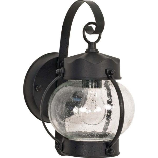 Palma Black/clear Seeded Glass Outdoor Wall Lanterns Throughout Most Current Glomar 1 Light Outdoor Textured Black Wall Lantern Sconce (View 14 of 20)