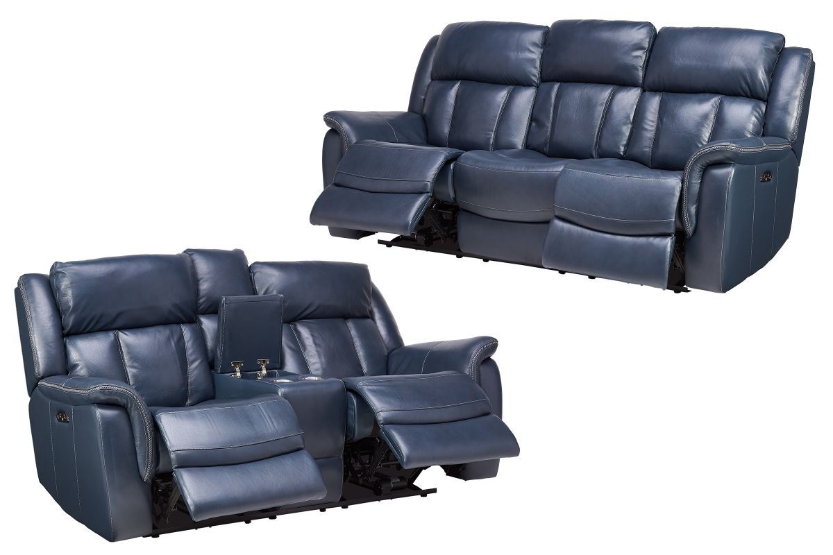 Patriot Blue Leather Dual Power Reclining Sofa + Loveseat Inside Newest Dual Power Reclining Sofas (View 8 of 20)