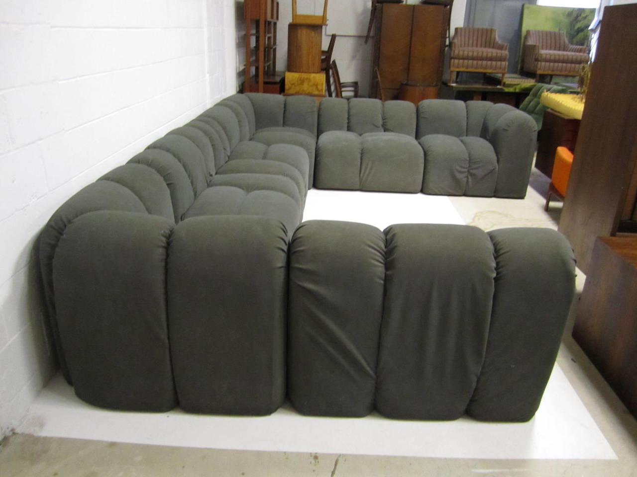 Paul Modular Sectional Sofas Blue Regarding Best And Newest Mid Century Modern Seven Piece Signed Paul Evans Sectional (View 4 of 20)