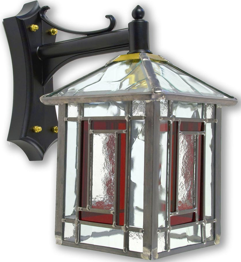 Payeur Hammered Glass Outdoor Wall Lanterns Regarding Trendy Penrith Traditional Red Leaded Stained Glass Outdoor Wall (View 15 of 20)