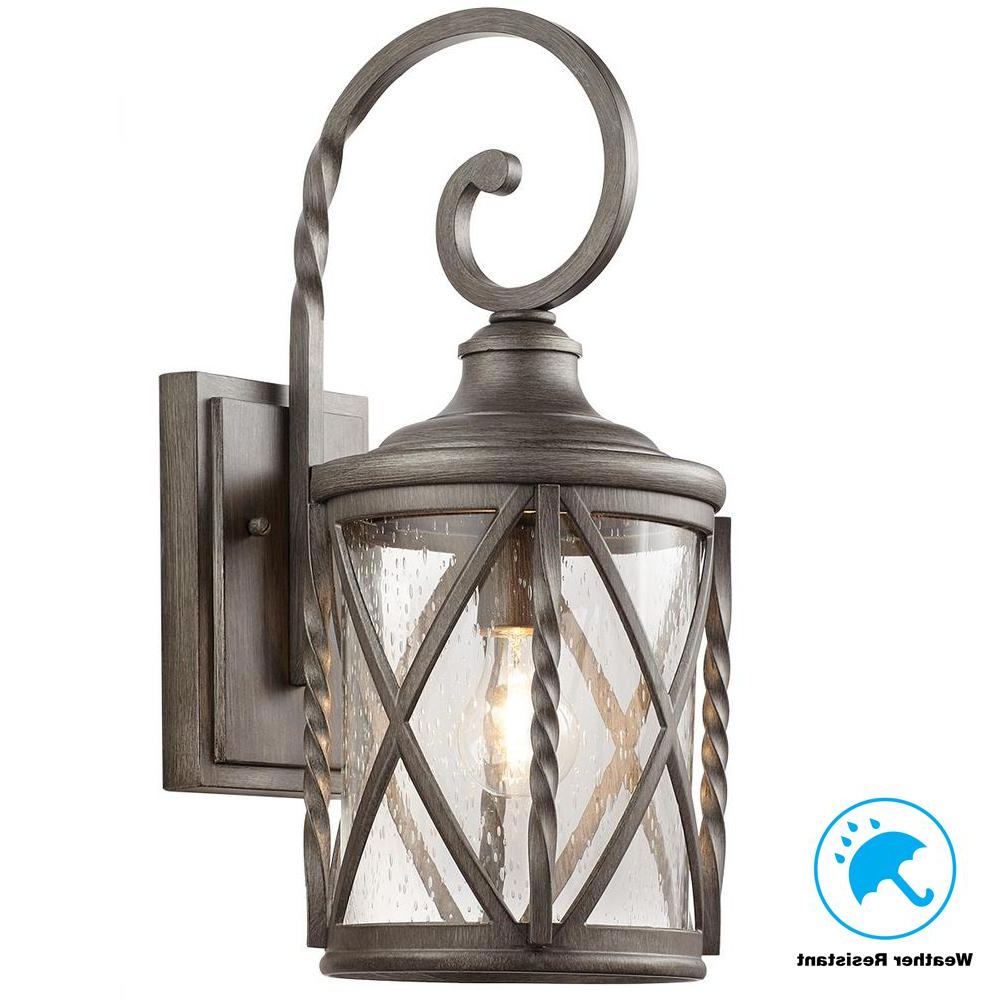 Payeur Hammered Glass Outdoor Wall Lanterns Regarding Well Liked Home Decorators Collection 1 Light Antique Pewter Outdoor (View 14 of 20)
