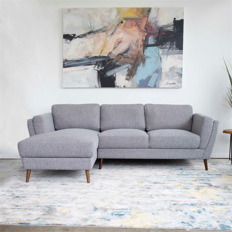 Pemberly Row Mid Century Modern Sadie Gray Sectional Sofa Inside Latest Alani Mid Century Modern Sectional Sofas With Chaise (View 3 of 20)