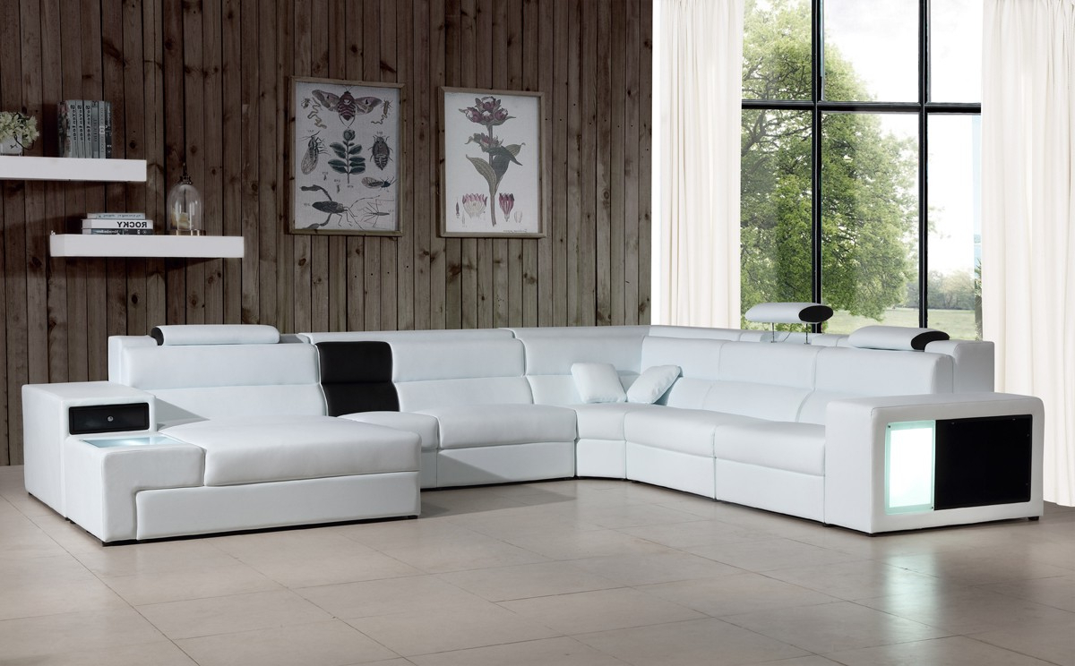 Polaris – Contemporary White Leather Sectional Sofa With Inside Best And Newest Sectional Sofas In White (View 17 of 20)
