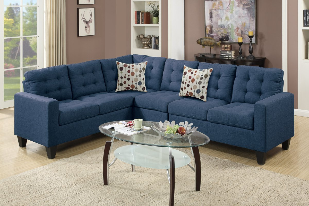 Polyfiber Linen Fabric Sectional Sofas Dark Gray For 2019 Poundex Francis F6938 Navy Polyfiber Linen Like Fabric (View 1 of 20)