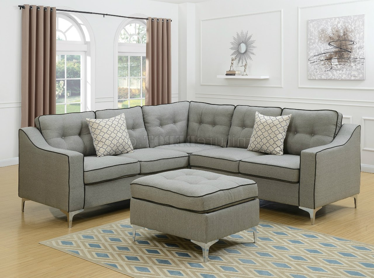 Polyfiber Linen Fabric Sectional Sofas Dark Gray Inside Most Recent F6998 Sectional Sofa In Light Gray Fabric W/ Ottomanboss (View 8 of 20)