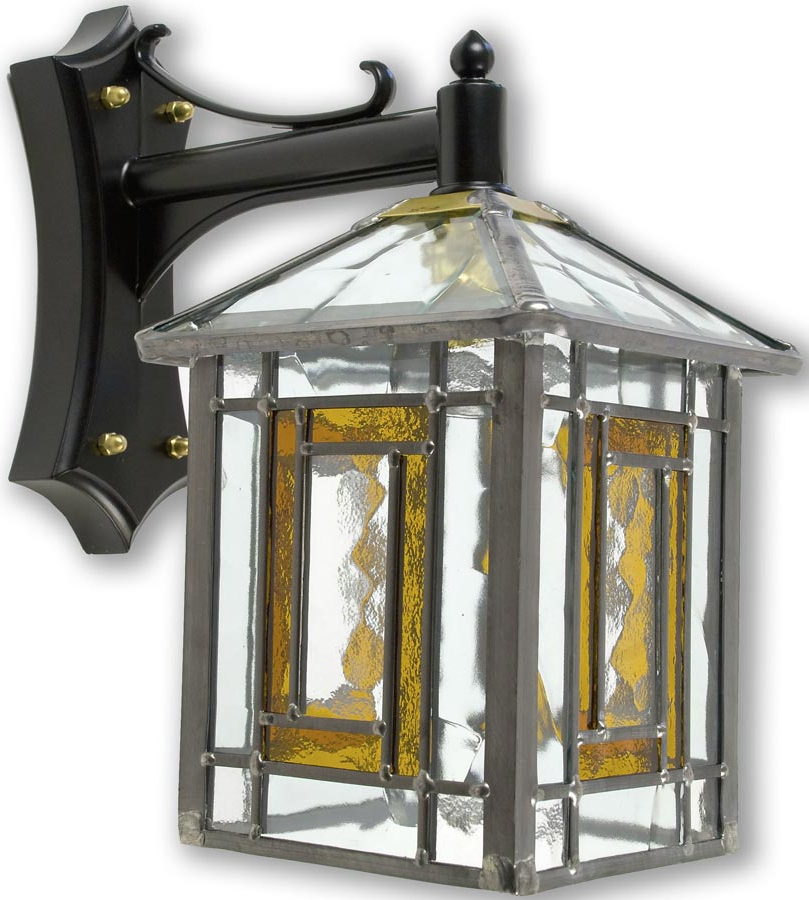 Poole Traditional Amber Leaded Stained Glass Outdoor Wall For Most Recent Payeur Hammered Glass Outdoor Wall Lanterns (View 5 of 20)