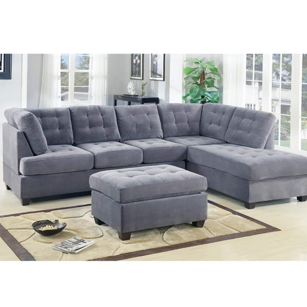 Popular 2pc Crowningshield Contemporary Chaise Sofas Light Gray Regarding Casa Andreamilano 2 Piece Modern Grey Soft Tufted Micro (View 6 of 20)