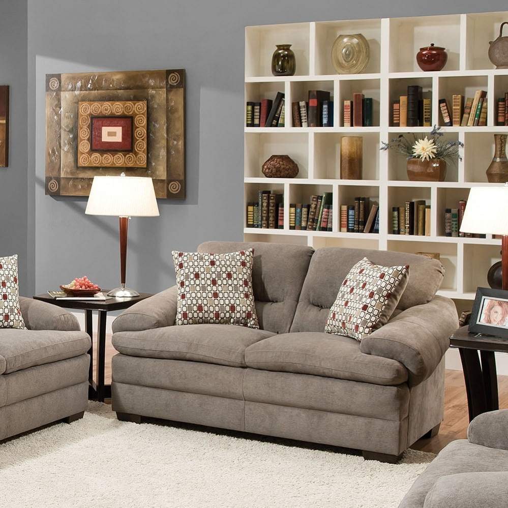 Popular Debbie Coil Sectional Sofas With Roselyn Miranda Shale 2 Pillows Loveseat (View 10 of 20)