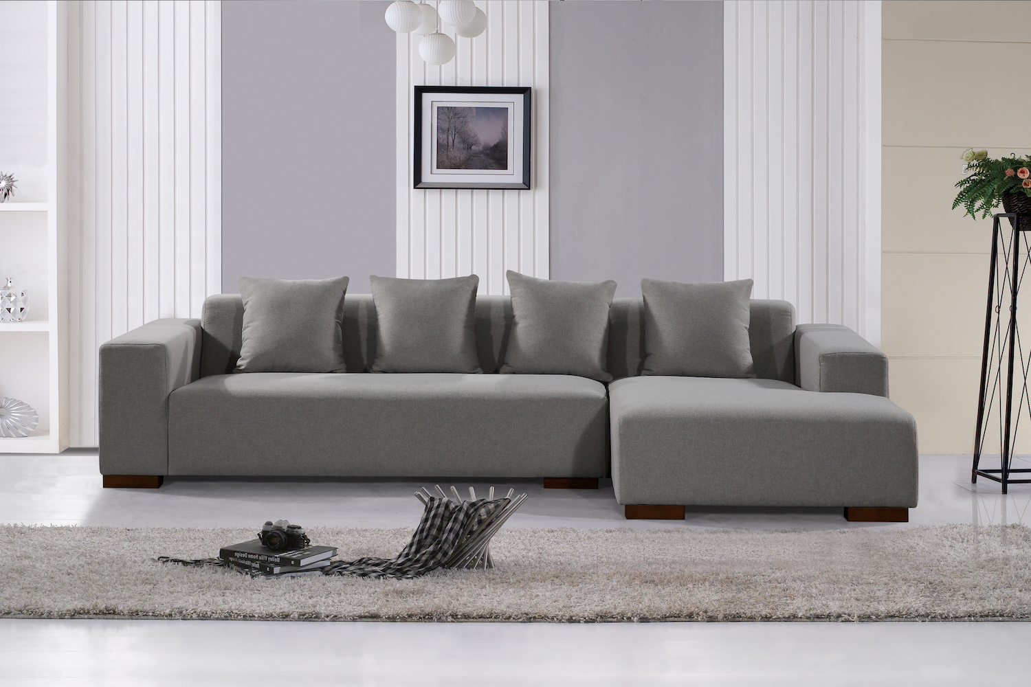 Popular Deep Seating Sectional Sofa – Light Grey Fabric Within Noa Sectional Sofas With Ottoman Gray (View 12 of 20)