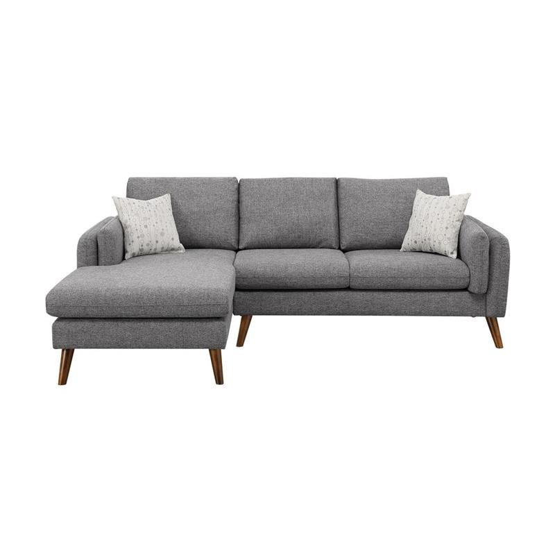 Popular Founders Gray Mid Century Fabric Right Hand Facing Throughout Dulce Mid Century Chaise Sofas Light Gray (View 8 of 20)