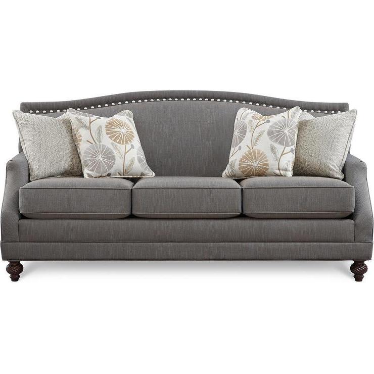 Popular Gray Nailhead Sofa Gray Sofa With Nailhead Trim Velvet With 2pc Polyfiber Sectional Sofas With Nailhead Trims Gray (View 6 of 20)