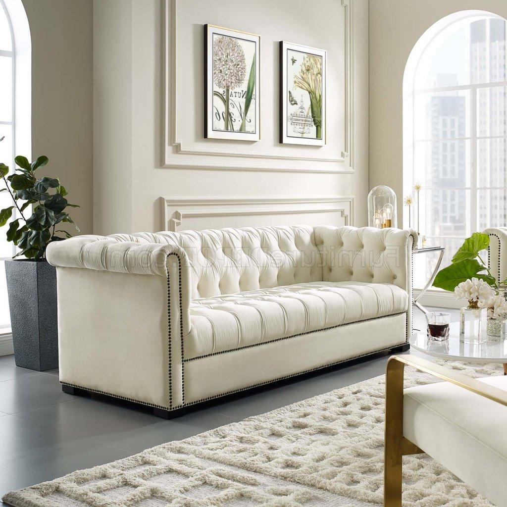 Popular Heritage Sofa In Ivory Velvet Fabricmodway W/options Regarding Strummer Velvet Sectional Sofas (View 12 of 20)