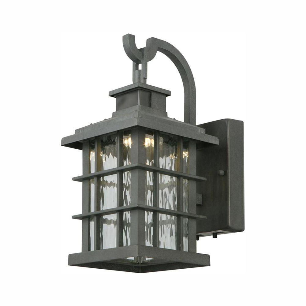 Popular Home Decorators Collection Summit Ridge Collection Zinc With Edenfield Water Glass Outdoor Wall Lanterns With Dusk To Dawn (View 4 of 20)