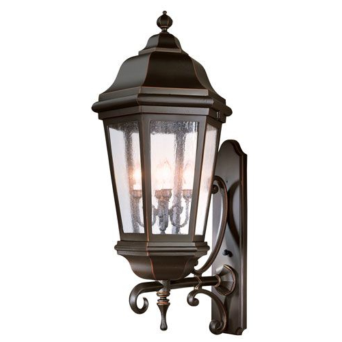 Popular Palma Black/clear Seeded Glass Outdoor Wall Lanterns Throughout Verona Matte Black Four Light Wall Mount Lantern With (View 13 of 20)