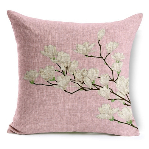 Popular Retro Fresh Hand Painted Magnolia Linen Cotton Cushion In Magnolia Sectional Sofas With Pillows (View 5 of 20)