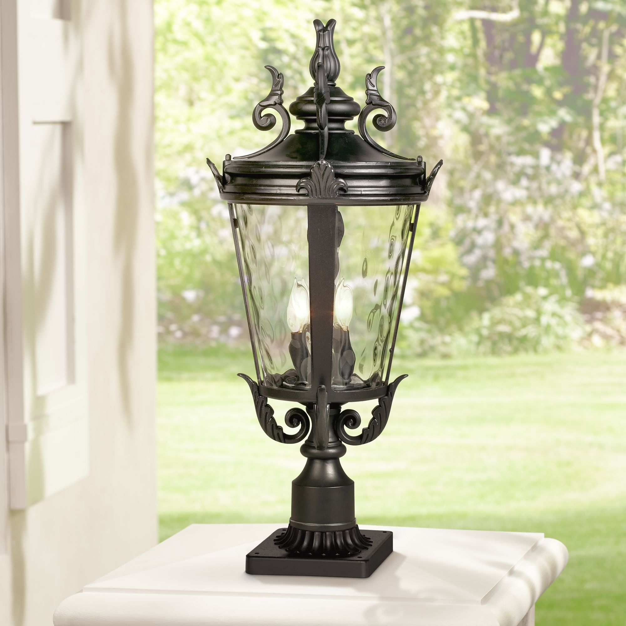 Popular Sheard Textured Black 2 – Bulb Wall Lanterns For John Timberland Traditional Outdoor Post Light With Pier (View 5 of 20)