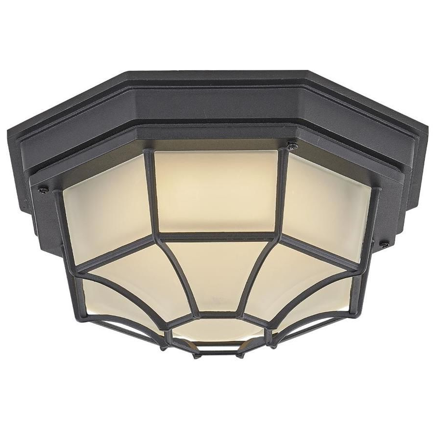 Popular Whisnant Black Integrated Led Frosted Glass Outdoor Flush Mount With Regard To Portfolio  (View 1 of 20)