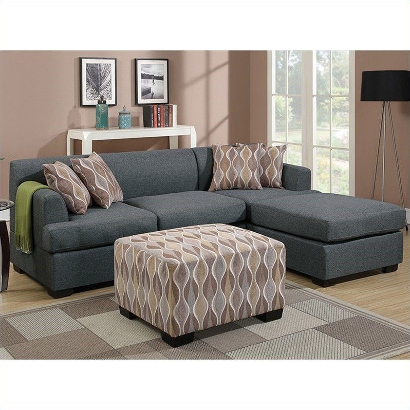 Poundex Bobkona Winfred 2 Piece Reversible Sectional Sofa Intended For Well Liked Molnar Upholstered Sectional Sofas Blue/gray (View 12 of 20)