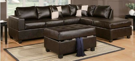 Poundex F7351 3 Pc Ivy Bronx Tamra Espresso Faux Leather Inside Most Up To Date 3pc Bonded Leather Upholstered Wooden Sectional Sofas Brown (View 14 of 20)