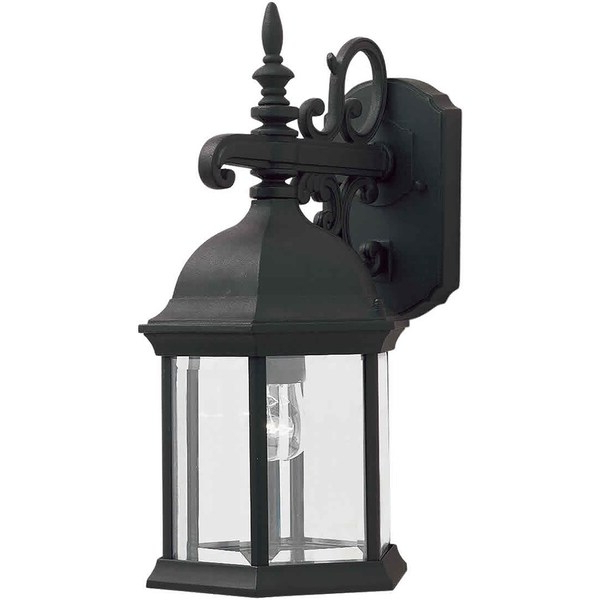 Powell Beveled Glass Outdoor Wall Lanterns Inside Latest Shop 1 Light Black Outdoor Wall Lantern With Clear Beveled (View 17 of 20)