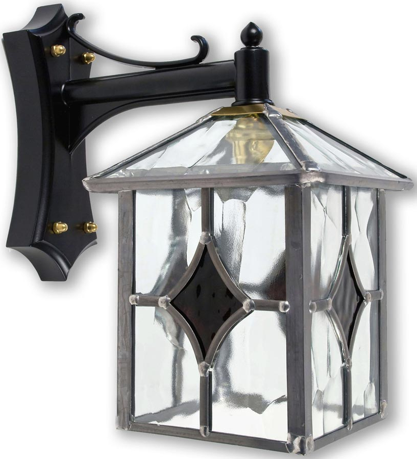 Powell Beveled Glass Outdoor Wall Lanterns Pertaining To Widely Used Yeovil Gothic Dark Amber Leaded Glass Traditional Outdoor (View 3 of 20)