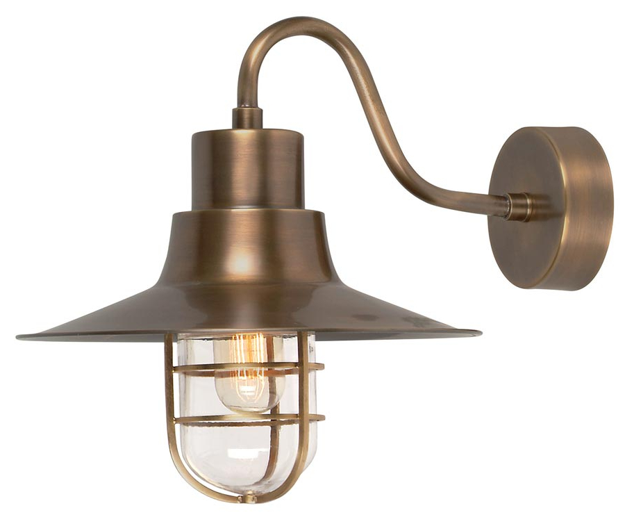 Powell Outdoor Wall Lanterns Inside Widely Used Elstead Sheldon 1 Light Outdoor Wall Lantern Aged Solid Brass (View 17 of 20)